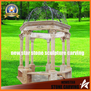 Traverine Marble Light Yellow Gazebo in Garden pictures & photos