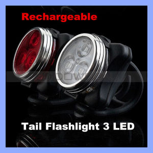 Rechargeable Red White 3 LED Rear Tail Bike Light pictures & photos