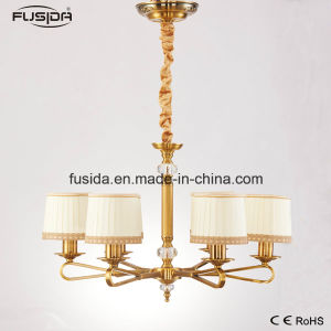 High Quality Customized New Product Iron Chandelier with Fabric Shade (D-6107/6) pictures & photos