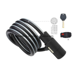 Newest Bicycle Spiral Cable Lock with Keys for Bike (HLK-017) pictures & photos