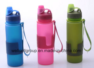 BPA Free Platinum Silicone Foldable Drinking Water Bottles (CPBZ-4101) pictures & photos