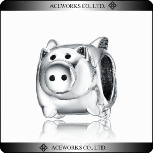 Top Quality Silver Pig Charm Beads Various Design for Jewelry Making