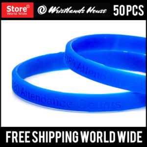 1/4 Inch Custom Deboss Silicone Wristband pictures & photos