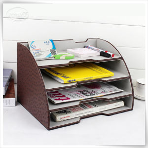 Superieur New Arrivel PU Leather Letter Trays Stackable Desk Trays