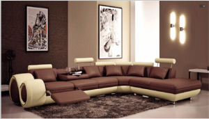 Living Room Couch with Leather Corner Sectional Sofa pictures & photos