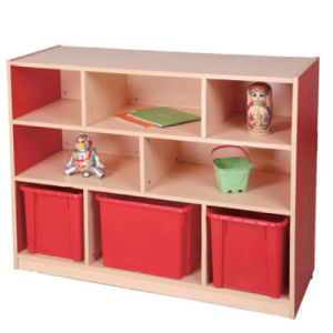 Wooden Kids Toy Storage Cabinets With Bigh Plastic Basket
