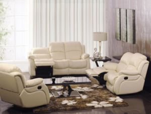 White Color Big Size and Heavy Leather Recliner Sofa