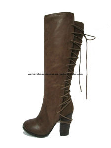Wholesale Chunky High Heel Overknee Women Boots with Lace