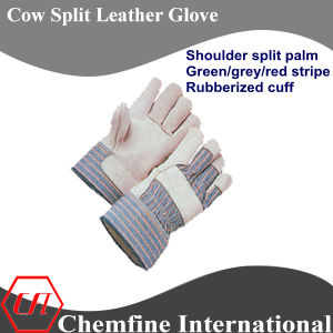 Shoulder Split Palm, Green/Grey/Red Stripe, Rubberized Cuff Leather Work Gloves pictures & photos