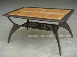 Aluminum Rattan Table with Teak Top for Outdoor Space pictures & photos