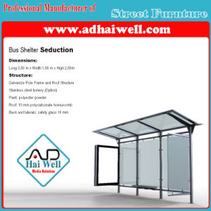 304 Stainless Steel Outdoor Furniture LED Light Box Advertising Bus Stop Shelter pictures & photos