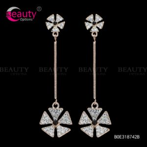 Elegant Golden Charming Rhinestone Fashion Earrings for Party