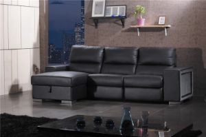 Genuine L Shape Leather Sofa with Black Color