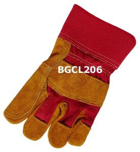 Palm Reinforced Golden Split Cow Leather Work Gloves