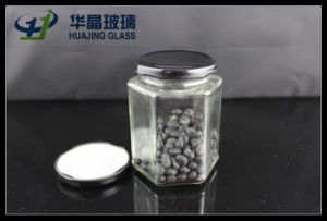 295ml Hexagonal Glass Mason Jam Jar with Sealed Metal Lid