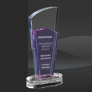 Plaque Design Purple Crystal Trophy With Round Base