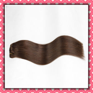 Brown Color Clip-on Human Hair Extension Silky 22inches pictures & photos
