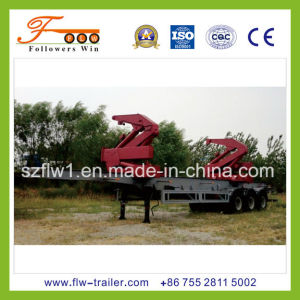3axle Skeletal Container Semi Trailer with Crane
