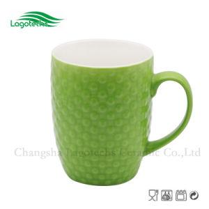Green Embossed Drum Shape Coffee Mug Eco Friendly
