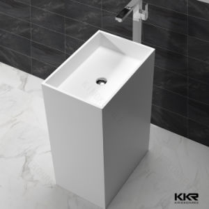 Pure White Solid Surface Basin Pedestal Bathroom Sink pictures & photos