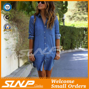 Women Fashion Clothes Casual Denim Dress Shirt