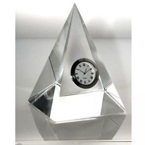 Pyramid Crystal Clock for Home Decoration Gift (P413) pictures & photos