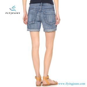 Newest Women/Girls Monkey Wash Loose Blue Denim Shorts pictures & photos