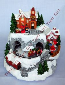 Polyresin Santa Riding Train Through Tunnel W/LED Light and Music Box