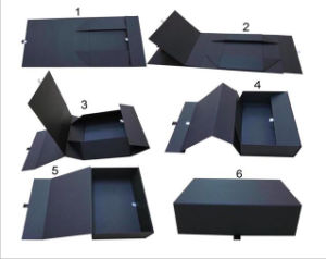 Rigid Black Folding Box / Cardboard Paper Foldable Gift Box pictures & photos