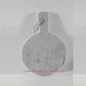 Cutting Board Marble Round with Handle /Round Marble Cheese Board with Handle pictures & photos