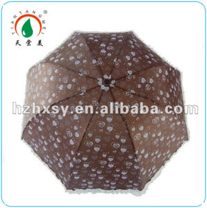 Chocolate Color Full Body 3 Foldable Parasol Umbrella