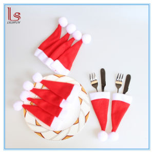 China Small Christmas Caps Cutlery Holder Forks Cover Mini Santa Hat