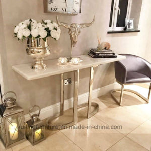 Modern Rose Gold Stainless Steel Base Cream Marble Console Table
