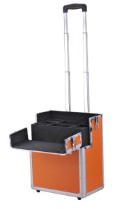 OEM Custome Orange Color Can Customrized Aluminum Beauty Trolley Case pictures & photos