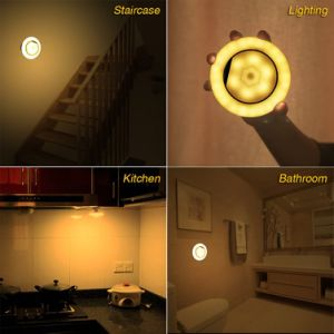 Humanization Design 360 Degree Rotating LED Night Lights with Dual Motion Sensor, Wireless USB Rechargeable Wall Light Security Lighting Lamp pictures & photos