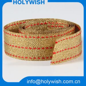 Fashion Custom Strap Gift Ribbon with Golden Metallic Wire