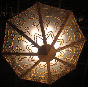 Custom Lighting Metal+Glass Semi-Flush Lamp Shade