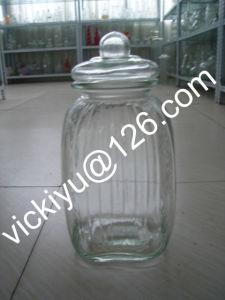 China Large Food Glass Container Big Glass Jars With Glass Lid