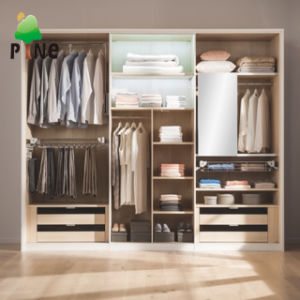 Modern Design Bedroom Furniture Melamine Wooden Open Style Wardrobe