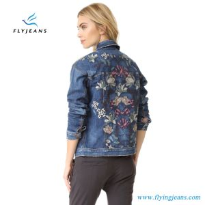 13c69cece222 Fashion Woman Short Denim Jacket with Intricate Floral Embroidery at Back