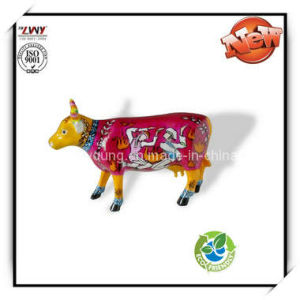4 Inches Multi-Color Resin Cow Statue for Home Decor.