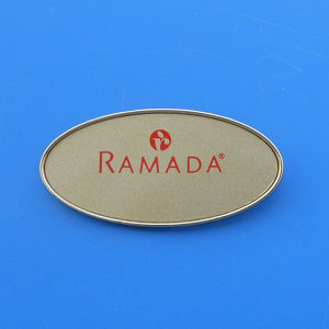 Custom Logo Print Oval Shape Metal Magneic Reusable Name Badges pictures & photos