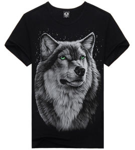 Factory Fashion Good Quality Wolf Glowing Printing T Shirt