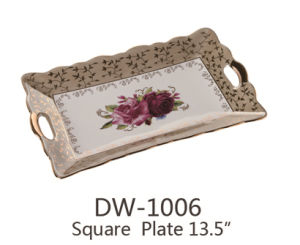 Dw-1006 Ceramic Porcelain Square Plate (tray) 13``