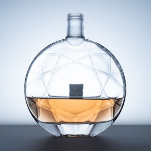 Crystal Glass Material Clear Square Brandy Glass Bottle