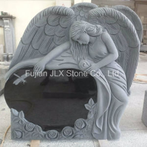Shanxi Black Granite Angel Heart with Rose Carving Headstones