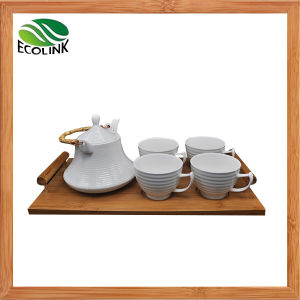 Ceramic Tea Pot Tea Cup Set Drink Set with Bamboo Tray pictures & photos