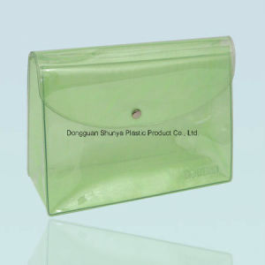 Green PVC Bag with Button and Flap Cover pictures & photos