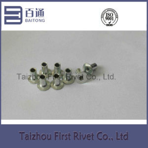 4X7mm White Zinc Plated Flat Head Fully Tubular Steel Rivet