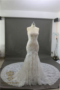 Elegant Sweetheart Tulle Mermaid Lace Appliques Sexy Sleeveless Bridal Gowns 2017 Wedding Dresses